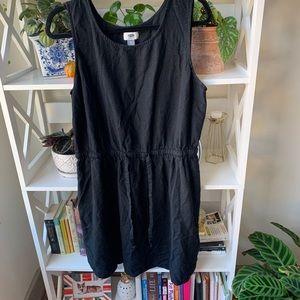 Black dress with tie waist